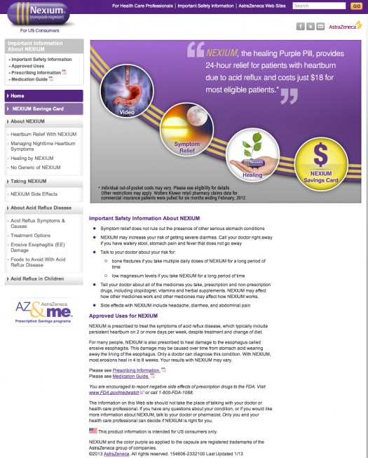 Nexium is one of the top prescription drugs in the US but their website is too heavy with text and has too many calls to action
